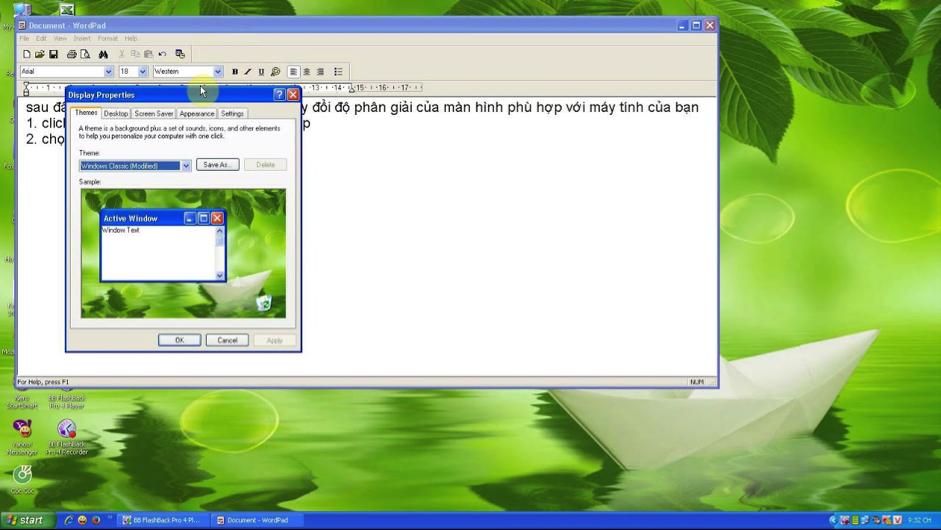 Cách chỉnh sửa màn hình máy tính win xp bị lỗi kích thước